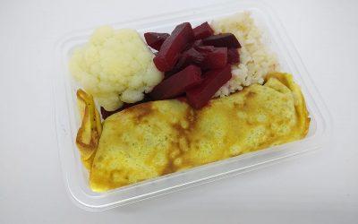 Panqueca funcional de frango, Arroz integral Beterraba cozida e Couve-flor